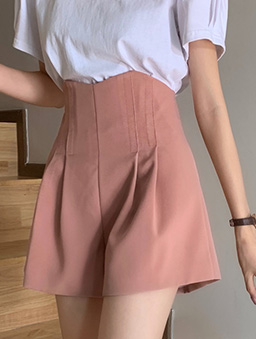 俐落自信百搭高腰打折休閒短褲-粉色
