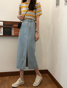時髦姐姐側門襟設計開衩牛仔裙-淺藍
