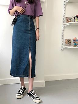 時髦姐姐側門襟設計開衩牛仔裙-深藍