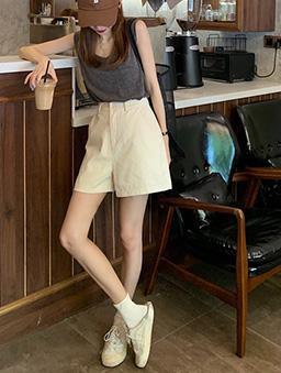都市少女簡約風格百搭休閒短褲-米白