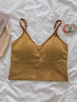夏日派對大U領美背多色內搭小背心-姜黃色
