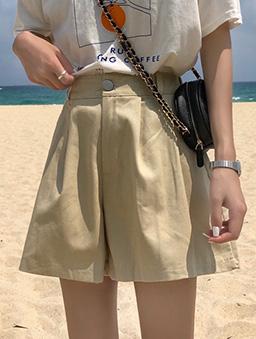 日光漫步多色打折寬口休閒短褲-杏