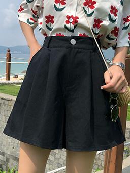 日光漫步多色打折寬口休閒短褲-黑