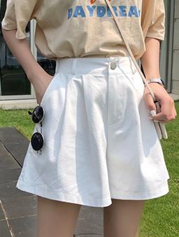 日光漫步多色打折寬口休閒短褲-白色