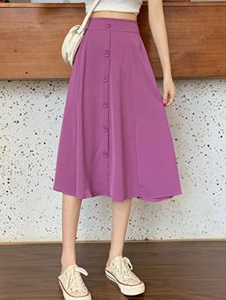 裙襬搖搖單排方釦傘襬A字裙-葡萄紫