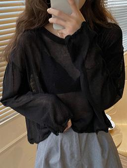 慵懶少女透膚捲邊防曬多色薄長袖上衣-黑