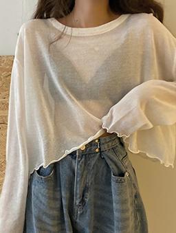 慵懶少女透膚捲邊防曬多色薄長袖上衣-白色