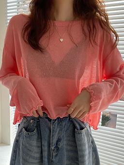 慵懶少女透膚捲邊防曬多色薄長袖上衣-粉橘
