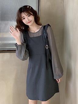 輕甜減齡荷葉背心裙透膚薄長袖套裝-灰