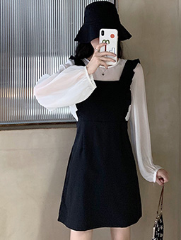 輕甜減齡荷葉背心裙透膚薄長袖套裝-黑