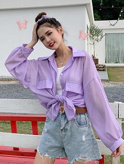 可愛教主多色透膚大袋蓋襯衫上衣-紫