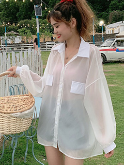 可愛教主多色透膚大袋蓋襯衫上衣-白色