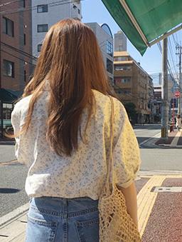 夏天的風溫柔小碎花襯衫上衣-藍