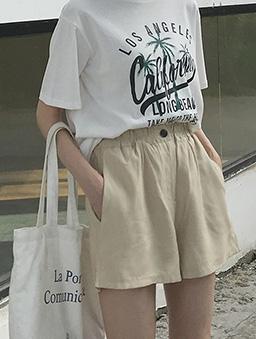 極簡主義多色鬆緊腰頭休閒短褲-杏