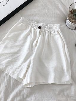 極簡主義多色鬆緊腰頭休閒短褲-白色
