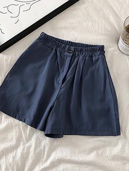 極簡主義多色鬆緊腰頭休閒短褲-深藍