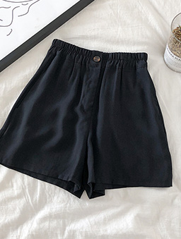 極簡主義多色鬆緊腰頭休閒短褲-黑