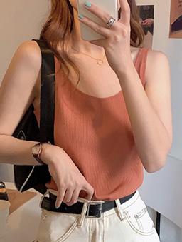 Basic就是好搭多色羅紋背心上衣-橘