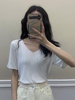 夏日氣息多色V領冰絲坑條針織上衣-白色