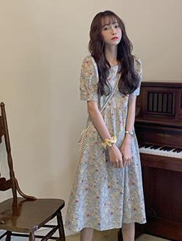 輕甜小碎花公主袖高腰洋裝-杏