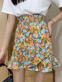 亮眼小碎花魚尾剪裁短裙-黃