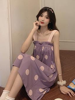 Pajama party點點睡衣居家多色洋裝-紫