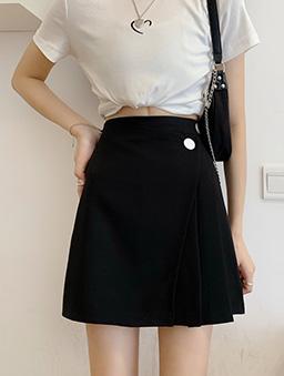 不對稱剪裁高腰A字短裙-黑