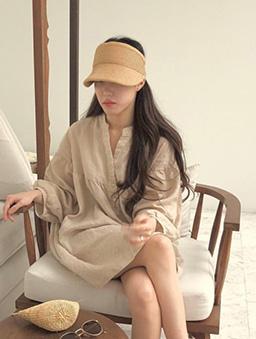 夏日時光草編遮陽帽-棕
