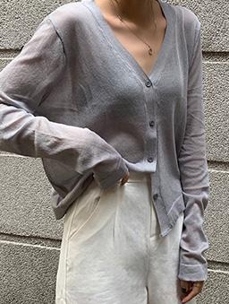 多色V領寬鬆透膚薄長袖外套-灰