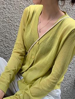 多色V領寬鬆透膚薄長袖外套-綠