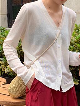 多色V領寬鬆透膚薄長袖外套-白色