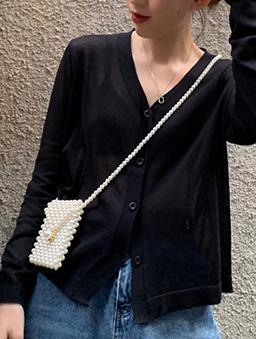 多色V領寬鬆透膚薄長袖外套-黑