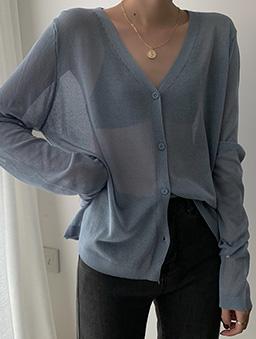 多色V領寬鬆透膚薄長袖外套-藍灰