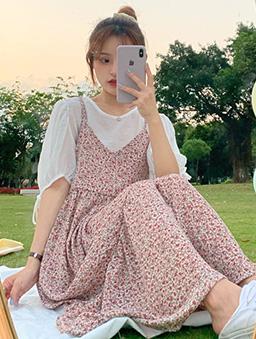 莫內的花園小碎花綁帶洋裝-粉色