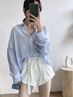 多色微光透膚襯衫上衣-藍