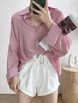 多色微光透膚襯衫上衣-粉紅