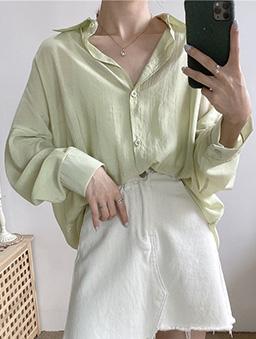 多色微光透膚襯衫上衣-綠