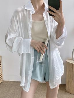 多色微光透膚襯衫上衣-白色