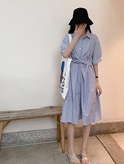 小細條造型綁帶襯衫洋裝-藍