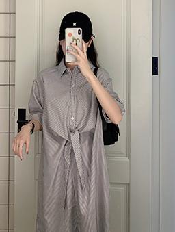 小細條造型綁帶襯衫洋裝-黑