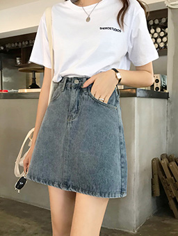 復古刷色高腰牛仔短裙-藍