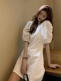 簡約時尚小圓領泡泡袖洋裝-白色