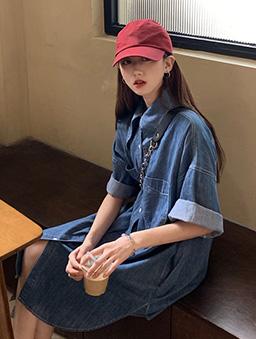貼袋造型牛仔襯衫洋裝-藍