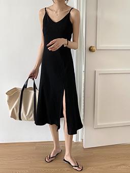 多色側開衩羅紋吊帶洋裝-黑