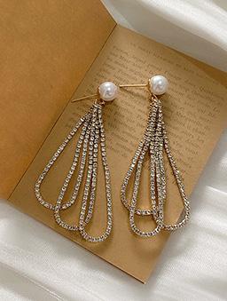 925銀針華麗的法則鑽石流蘇耳環-金