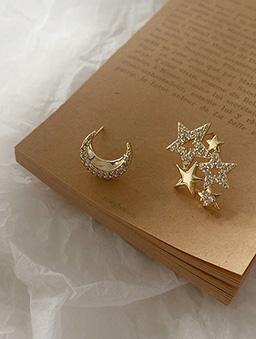 925銀針星辰月光鑽石耳環-金