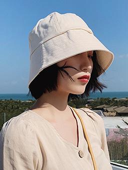 多色遮陽窄沿漁夫帽-米