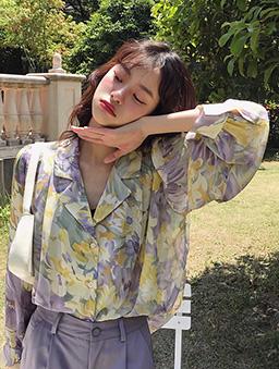 溫柔曙光雪紡襯衫上衣-紫