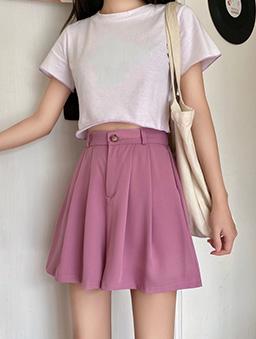 多色百搭垂墜感西裝短褲-紫