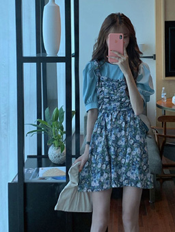 小碎花抽皺綁帶造型洋裝-藍